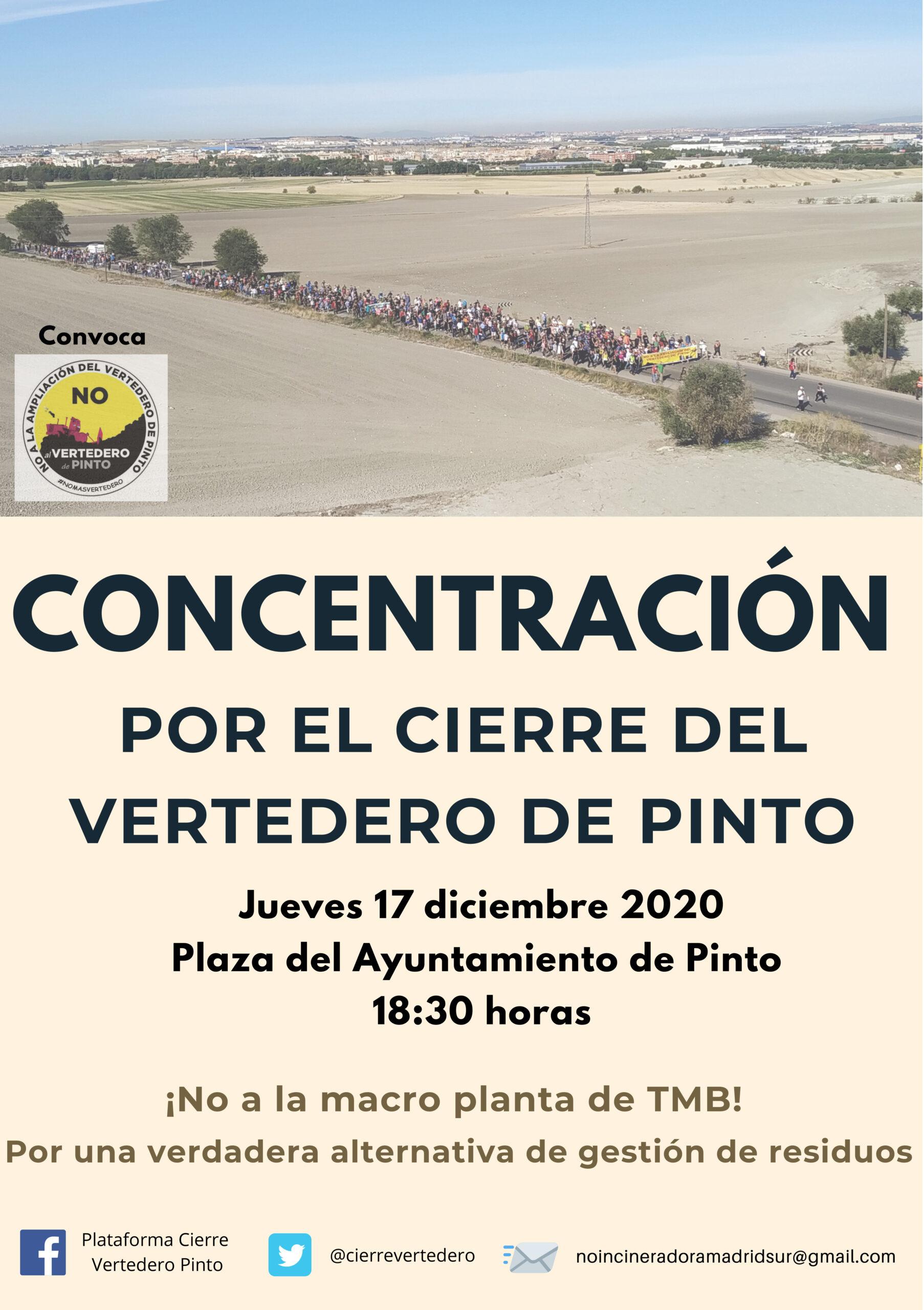 Concentración el jueves 17 de diciembre a las 18:30 en la plaza