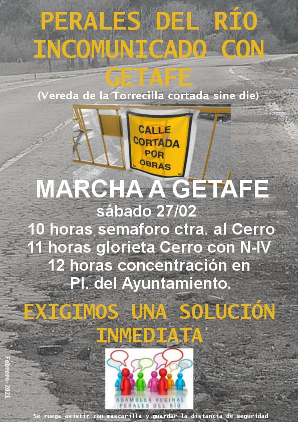 Convocatoria de manifestación para el sábado, 27 de febrero, desde Perales del Río al Ayuntamiento de Getafe.
