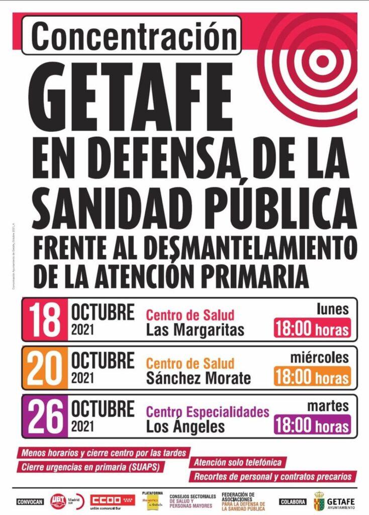 concentraciones convocadas los días 18, 20 y 26 de este mes, en los centros de Salud de la Margaritas, Sánchez Morate y Centro de Especialidades Los Ángeles, respectivamente, en defensa de la sanidad pública.